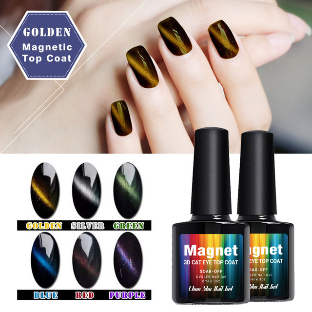 8ml Cat\'S Eye Topcoat Gel Nail Polish Magic Color Change Magnetic UV ...