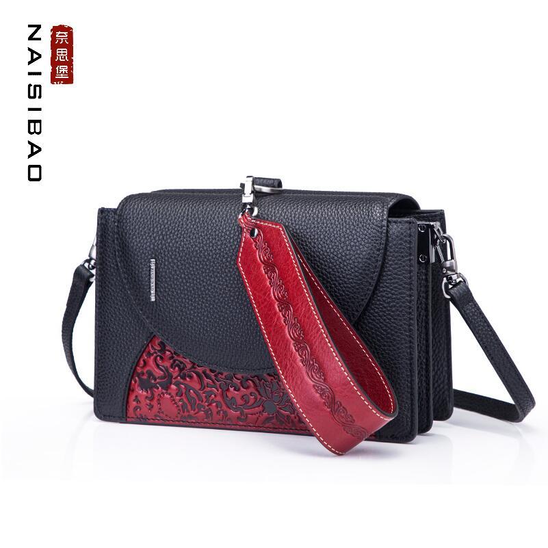 NAISIBAO Роскошные модные Высококачественная кожа 2018 новый личности женская сумка небольшой площади сумка тиснением сумка Сумка