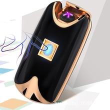 แฟชั่นLighterสำหรับของขวัญUSBไฟฟ้าคู่ArcโลหะFlamelessลายนิ้วมือแบบชาร์จลมเบา