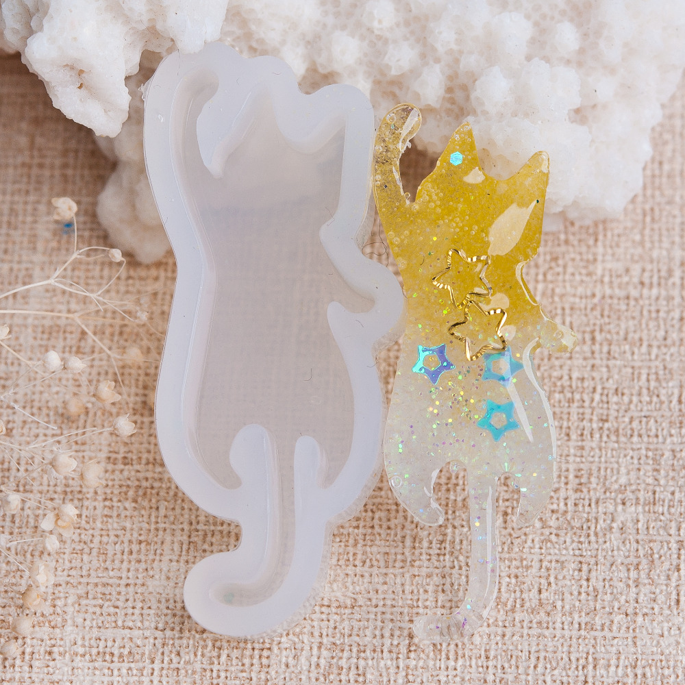 DoreenBeads Lovely Silicone Resin Mold For Jewelry Making Cat Animal Hand Craft DIY Tools White 50mm(2