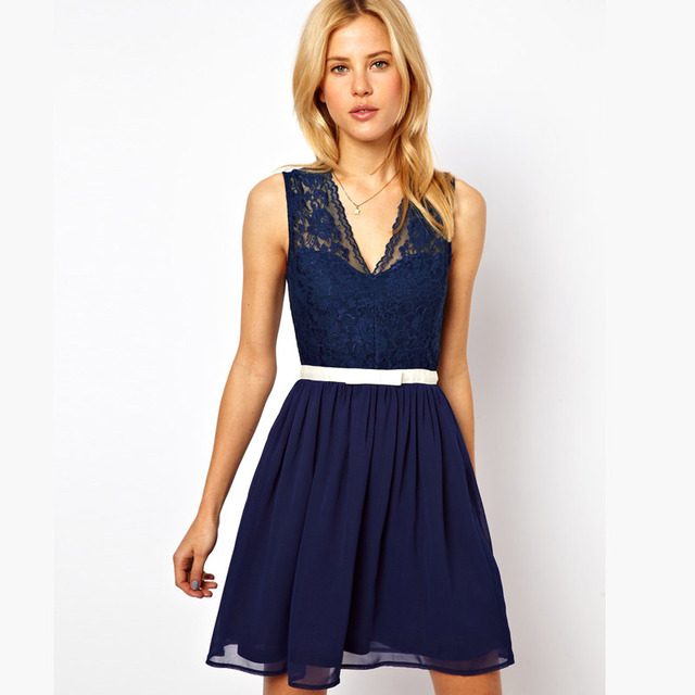 Dresses New Fashion2014 Women Navy Scalloped Lace Skater Dress Blue for  Party LC2958 girl shirt Freeshipping e3b0ffd6e