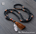 Couples Necklace Quality 6MM Lava Stones Agate with Leaf Pendant and Tassel Mens Necklace Beads Women jewelry