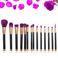 KESMALL 15Pcs Lot Newest Face Makeup Brush Set Purple Color Professional Women Beauty Tool Kits Pinceau