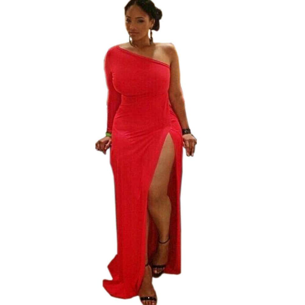 768dc2981c8 Super sexy red one shoulder long dress open spilt dress floor length plus  size maxi dresses