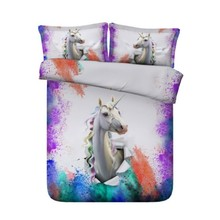 Unicorn Bedding set Luxury Designer duvet cover sets Queen size California King full twin double bed in a bag sheet sheets  4PCS