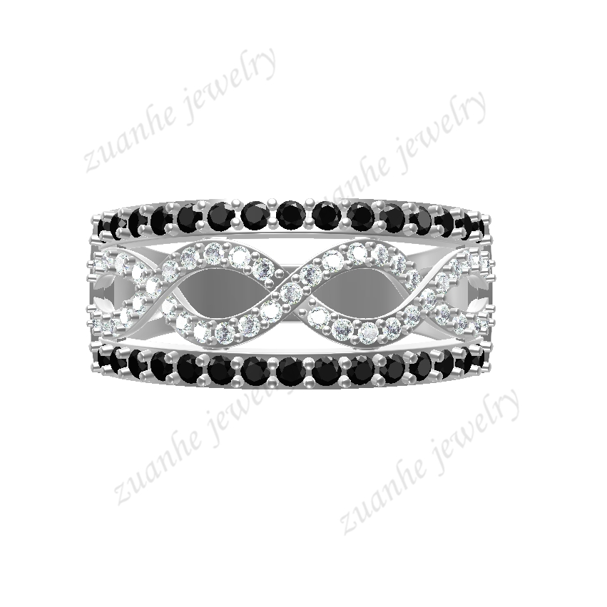 Sterling Silver 925 Engagement Wedding men Ring White & Black Cubic Zirconia Fashion Party Jewelry