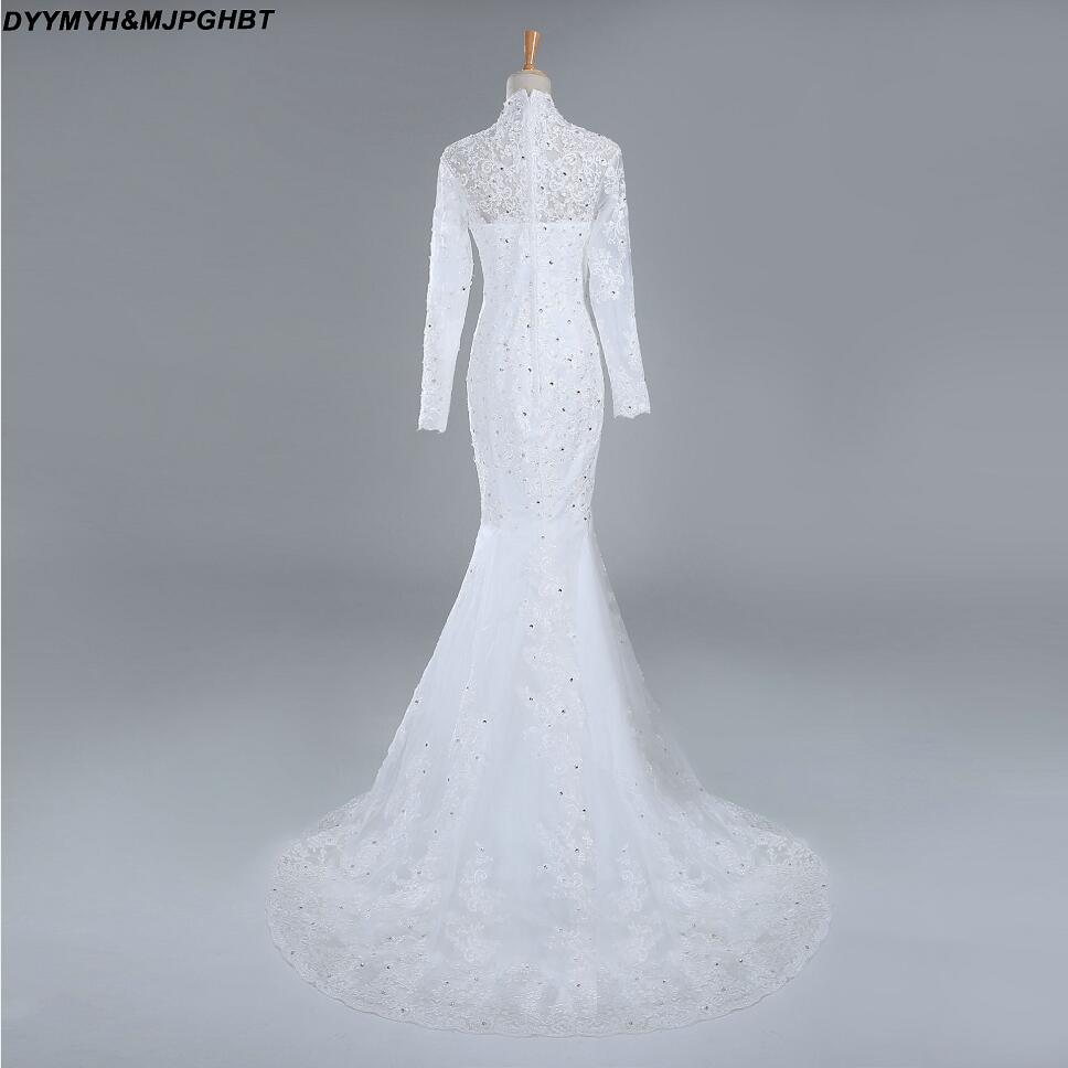 Saudi Arabic Muslin Bridal Dress Sheer High Collar Long Sleeve ...