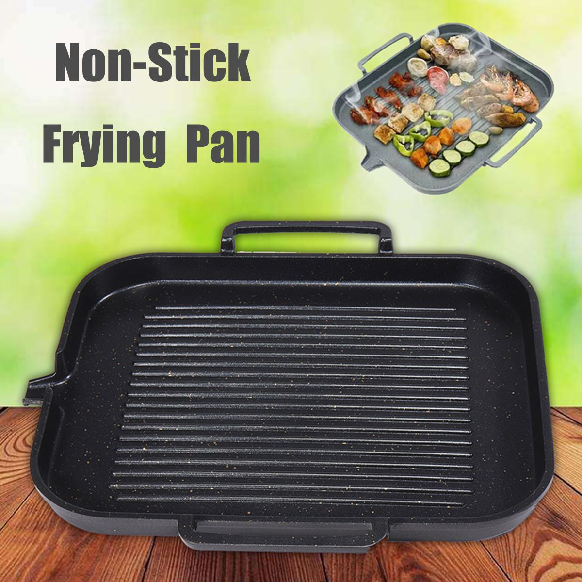 BBQ Barbecue Aluminum Frying Grill Pan Plate Non Stick Coating Cookware Induction Compatible Kitchen Cooking BBQ Pan 2-4 People