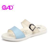 GAD Simple Wild Women Summer Slippers Fashion Design Metal Buckle Open Toe Breathable Women Slides Superstar