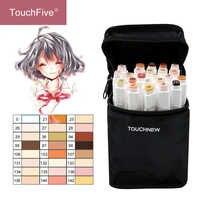 Touchfive 12/24 cores esboço tons de pele caneta marcador artista duplo headed álcool baseado mangá arte marcadores escova caneta