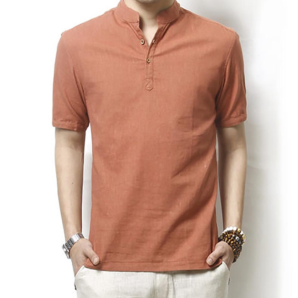 Hot New Solid Polo Shirt Men Casual Mandarin Collar Linen Polo Men