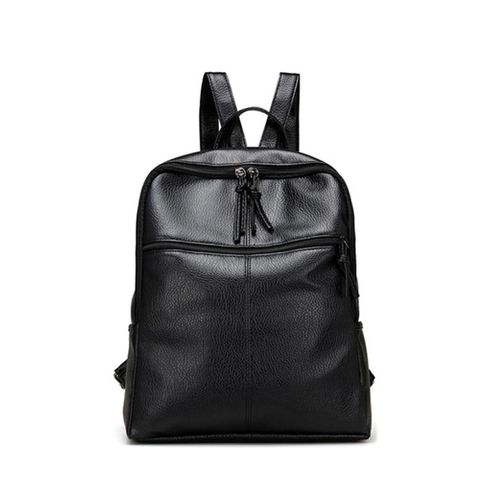 Luxury Black Leather Backpack Women Fashion Satchel Bags Korean Style Zipper School Shulder Bag Girls Travel Rucksack Mochila #Z fashion women leather backpack rucksack travel school bag shoulder bags satchel girls mochila feminina school bags for teenagers