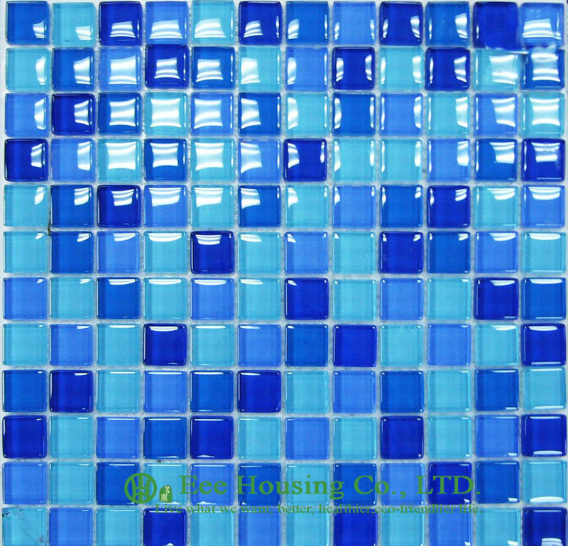 300mm*300mm Crystal  Mosaic Tile For Swimming Pools, Blue Color,Decorative Glass Crystal Mosaic Tile For House Decoration