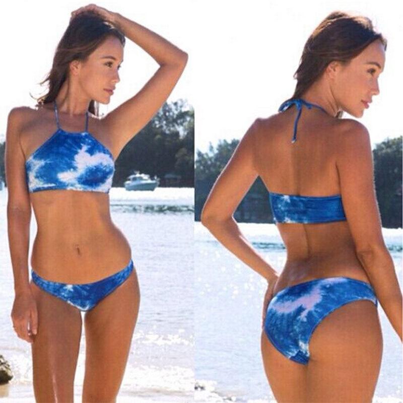 6cdffe0dcb 2016 New Sexy Women High Neck bikini Floral Bathing Suit Bottom&Top  Brazilian Swimsuit Female Swimwear Print Biquines Swim Wear