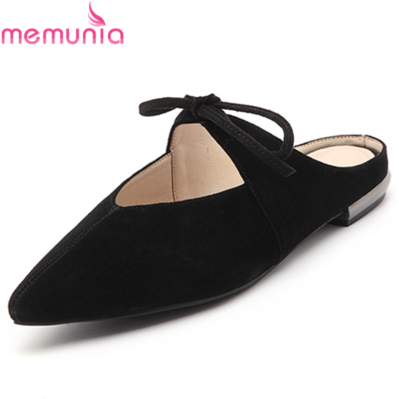 MEMUNIA 2017 Spring autumn new arrive pointed toe cow suede leather women flats shoes  comfortable shallow single shoes memunia 2017 fashion flock spring autumn single shoes women flats shoes solid pointed toe college style big size 34 47