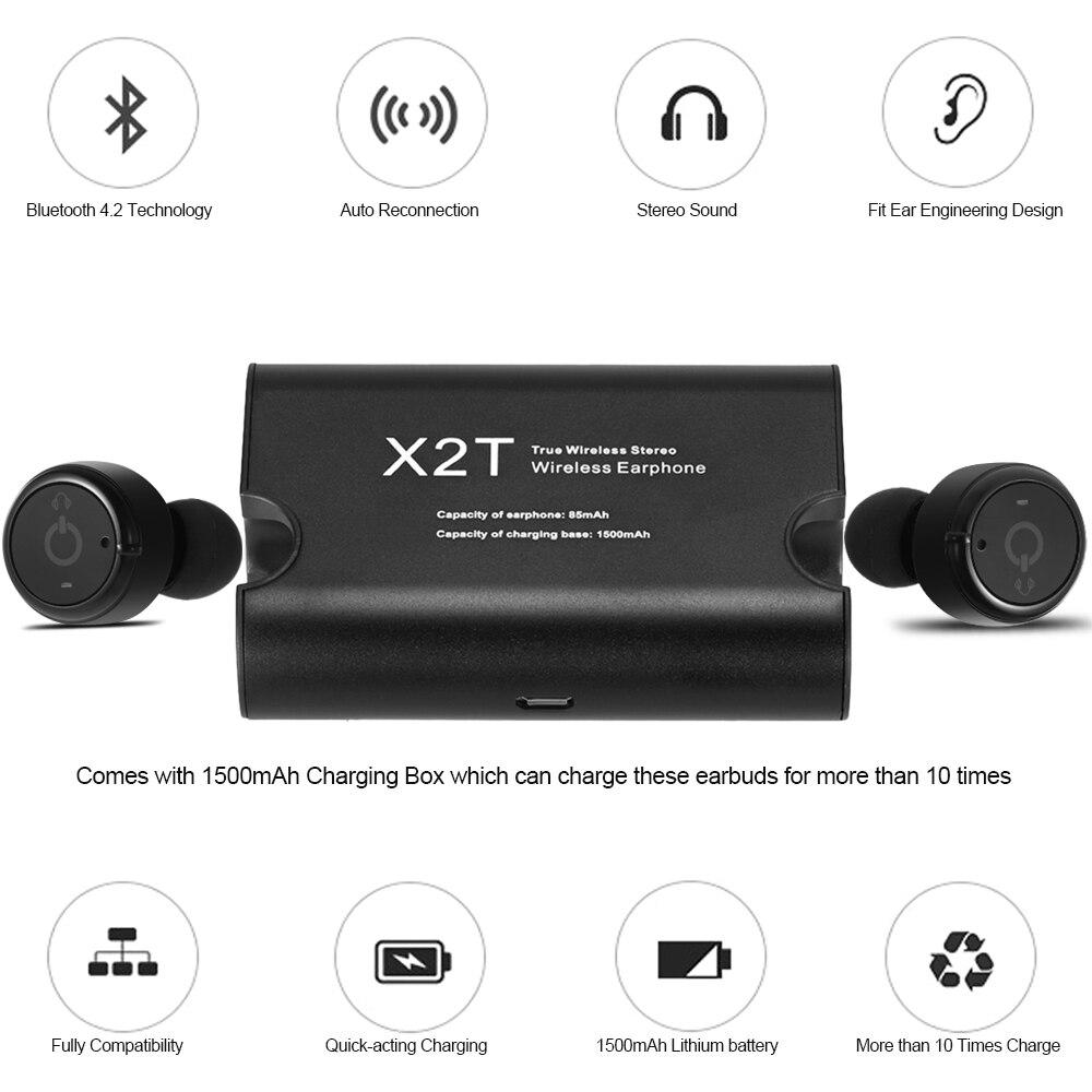 X2T TWS беспроводные наушники Bluetooth 4,2 наушники Спортивная гарнитура стерео музыкальные наушники Hands free w/ Mic 1500mAh зарядная коробка|Наушники и гарнитуры|   | АлиЭкспресс