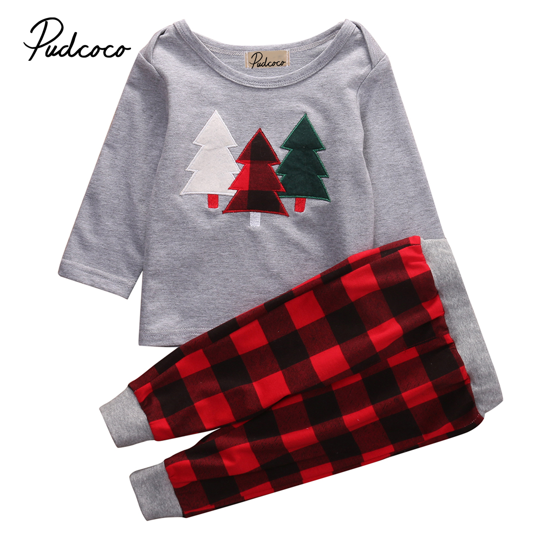 2PCS Kids 1-6Y Baby Boys Tree Print Christmas Clothes Set Long Sleeve T-shirt+Plaid Red Pants 2PCS Outfits