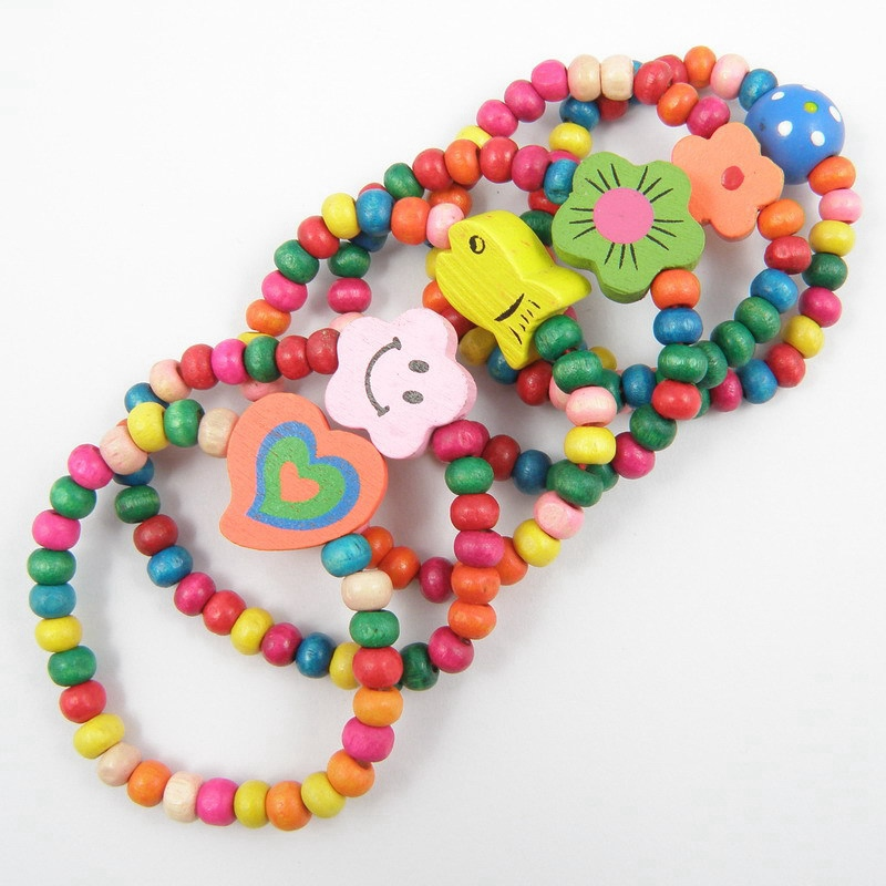 24x Mix Children Wood Bracelet Lovely Elastic Bead Bracelets Kids Party Jewelry Lots Birthday Gift Crafts Beads Toys YYY9805