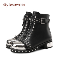 Stylesowner Punk Genuine Leather Boots Women Rivets Belt Buckle Shoe Square Heels Ankle Boots Metal Round Toe Motorcycle Boot 43
