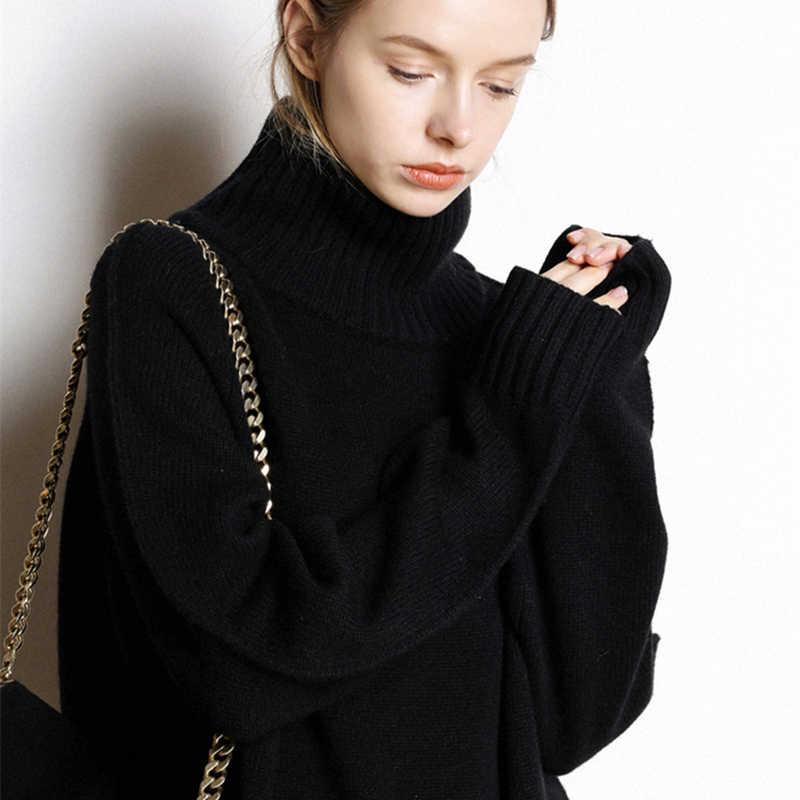 캐시미어 sweater women's new (high) 저 (-목 캐시미어 sweater women's solid color 긴 느슨한 스웨터 큰 size knit 밍 shirt