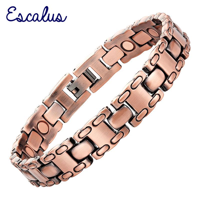 Escalus 12pcs Magnets Gift Jewelry Copper Plating Magnetic Bracelet For Men Bio Healing Charm Gentlemen Bracelets Wristband