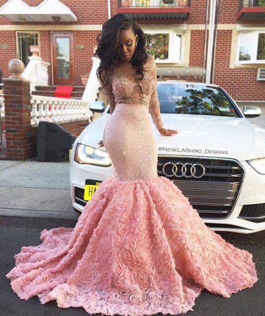 Luxus Afrikanische Prom Kleider für Schwarze Mädchen Rosa Spitze ...