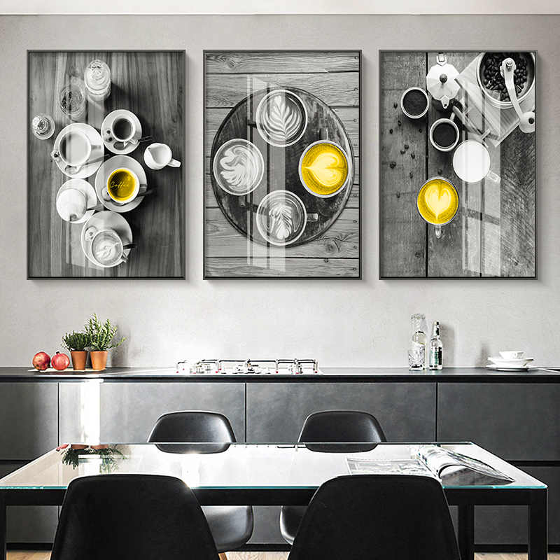 Modern yellow coffee street canvas painting posters and prints black and white decor wall art pictures for living room bedroom