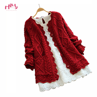Mori Girl Style Sweet Vintage Cardigan Spring Autumn Women Solid Color Sweater Knitted Cotton Twist Fashion Casual Red Sweaters