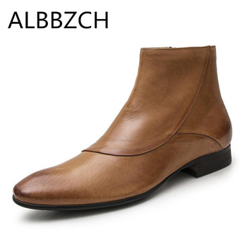 New mens genuine leather boots autumn witner warm ankle boots shoes men black brown Britain business dress work boots man botas