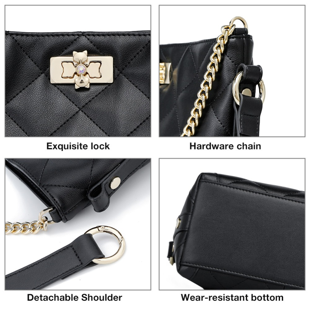 FOXER Brand Women Crossbody Bag Large Capacity Shoulder Bags Lady Bucket Bag Fashion Chain Lattice Bag with strap for Girls 5
