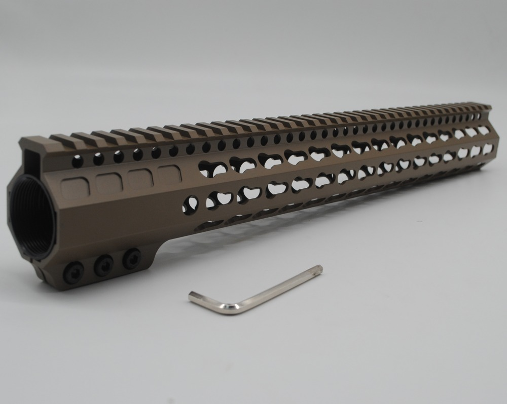 купить TriRock New Style Tan / FDE 15'' inch Length Keymod Handguard Clamping type Free Float Picatinny Rail Mount System онлайн