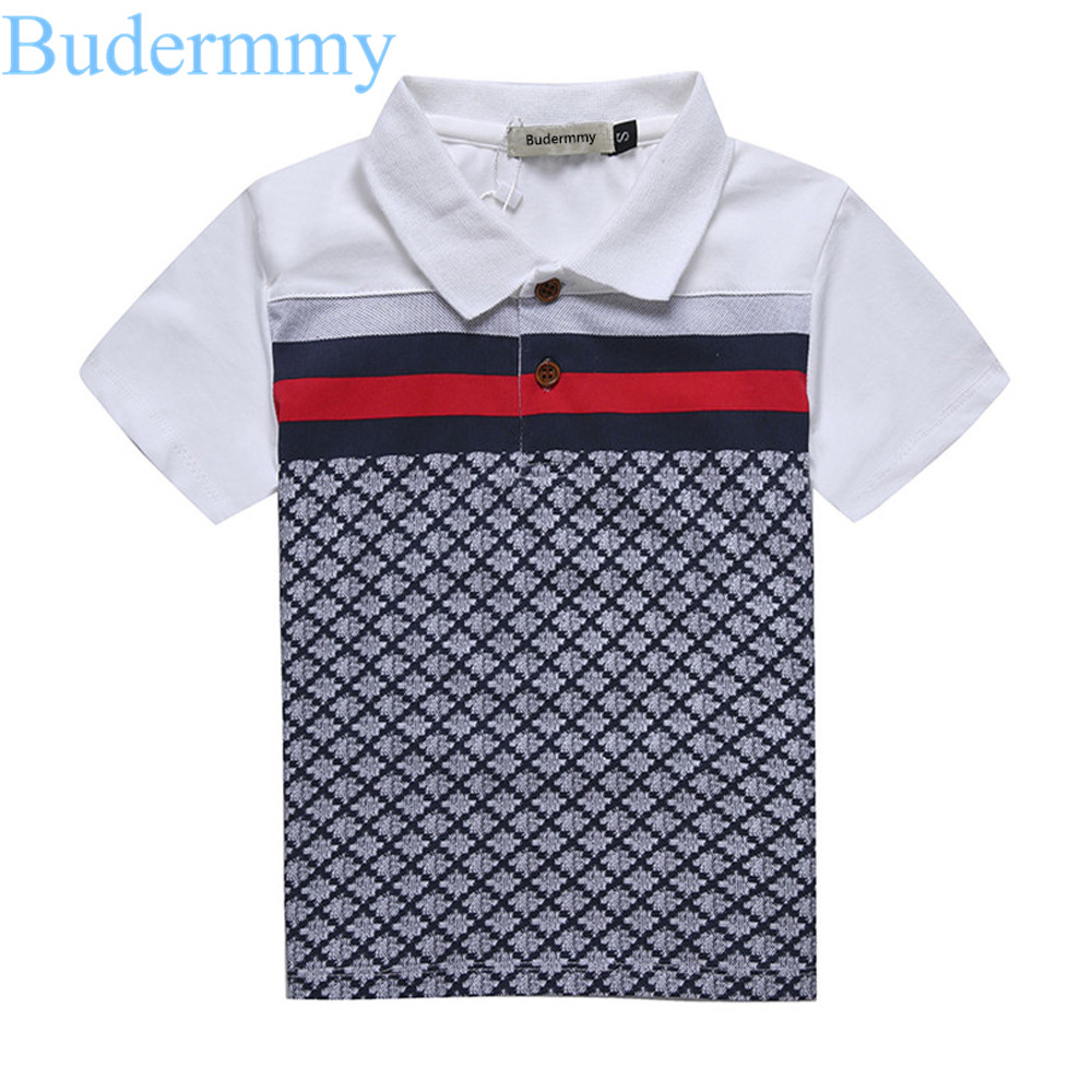 Boys T Shirts 100% Cotton Tops Turndown Collar Plaid t-shirt 2017 Summer Boy Brand T-Shirts 2 3 4 5 6 7 Years kids boys clothes classic plaid pattern shirt collar long sleeves slimming colorful shirt for men