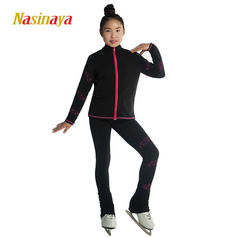 Kohandatud iluuisutamise ülikonnad jope ja püksid pikad püksid tüdrukute treeningutele Patinaje uisutamine soe võimlemine 6