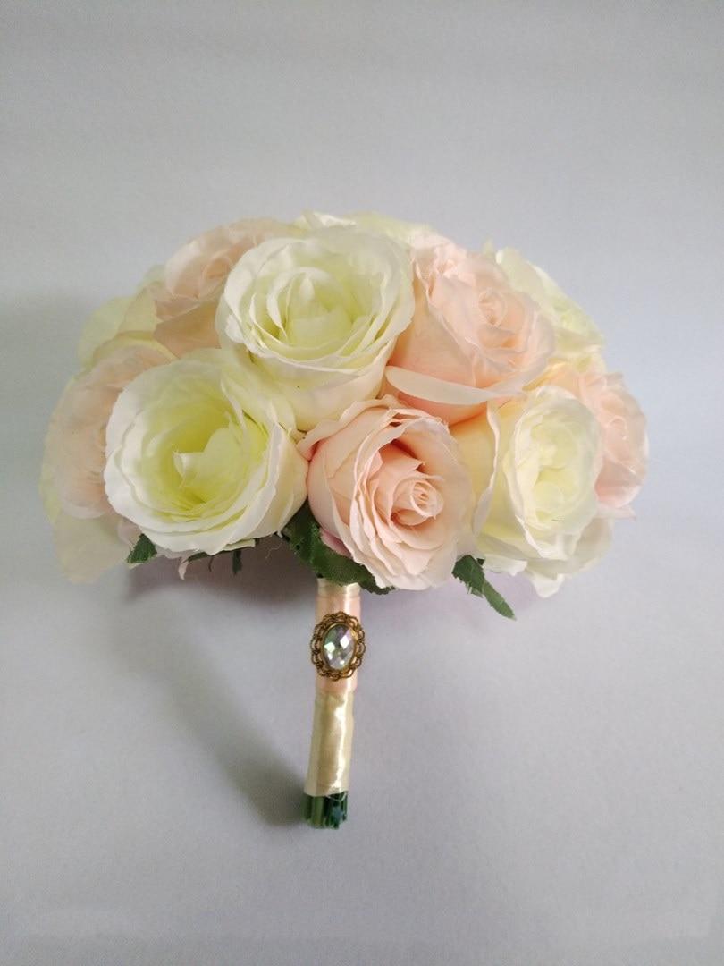 Ivoire vraie touche fleurs Rose Bouquets pour mariage Bouquets de mariée centres de mariage décoration de la maison
