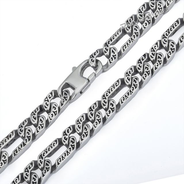 10mm Heavy Mens Boys Chain Necklace 316L Stainless Steel Silver Tone Figaro Animal Skin Necklace Wholesale Jewelry Gift LHN34