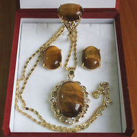 Women S Cospay Women S Hair Full Wigs Charming 18kgp Inlay Tiger Eye Stone Necklace Earring