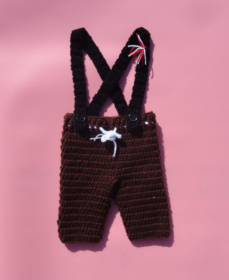 Coffee Color Baby Boy Fishing Outfit Set Crochet Newborn Boys