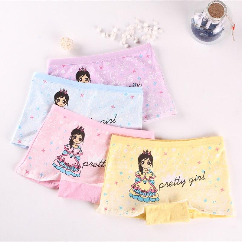4 Pieces/lot New Design Children Girl Panties Cotton Soft Pretty Cartoon Child Underwear For Kids Boxer Girls Pantie Breathable
