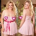 2016 новый Сексуальный Плюс размер Белье Цветочные кружева Ночное Белье Дамы Пижамы Babydoll Платье