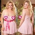 2016 novo tamanho Mais Sexy Lingerie Floral lace Nightwear Underwear Lady Pijamas Vestido Babydoll