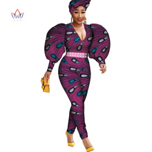 Puff Long Sleeve Women Jumpsuit Bazin  African for Ankara Print Romper Jumpsui Clothing WY4268