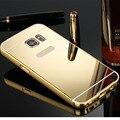 Espejo de acrílico de lujo del metal de aluminio caso para samsung galaxy s7 s6 edge Plus S5 Nota 5 4 3 Volver Cubierta de la Caja Del Teléfono Móvil Ultrafino
