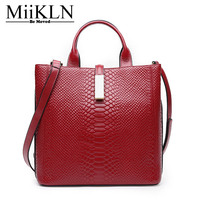 MiiKLN Women Handbag Genuine Leather Crossbody Women Bag Female Cow Leather Soft Solid New Design 2017