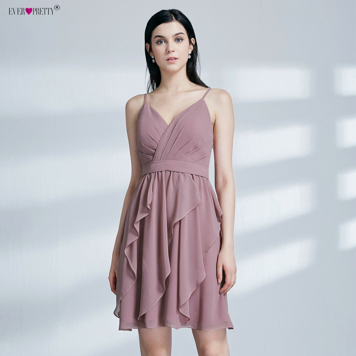 Ever Pretty EP04074MV New Arrival Simple A Line V Neck Sleeveless   Bridesmaid     Dresses   Sexy Backless Spaghetti Straps Party Gowns
