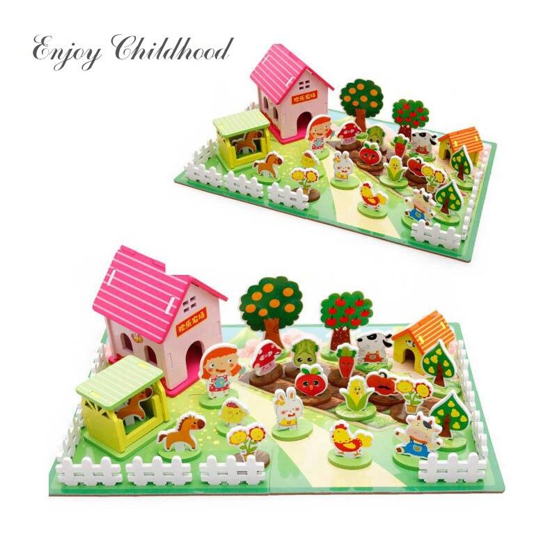 3D Puzzle Assembly Happy Farm Animal Kit Jouet Enfant Children Girl Boy Educational Toys For Kids Juguetes Educativos