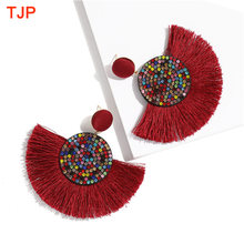 2019 New Trendy Tassel Earrings for Women Ethnic Bohemian Rope Fringe Drop Dangle Earrings Statement Earring ZA Party Jewelry(China)