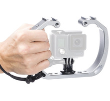 High Quality Alluminum Double Head Hotshoe Bracket Holder Action Camera Accessory for GoPro hero5/4/3 Underwater Photo Shooting