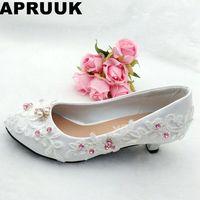 White lace weddig shoes woman crystal pink rhinestones bridal shoes lady fashion wedding shoes bride handmade plus sizes