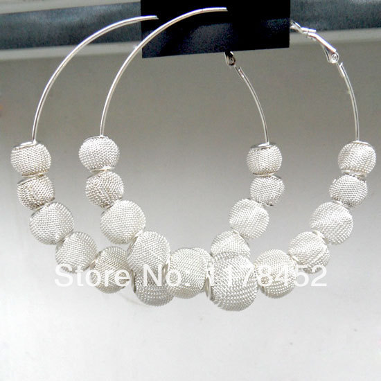 Silver Plated Basketball Wives Large Mesh Disco Ball Beads Wives Hoop Earrings
