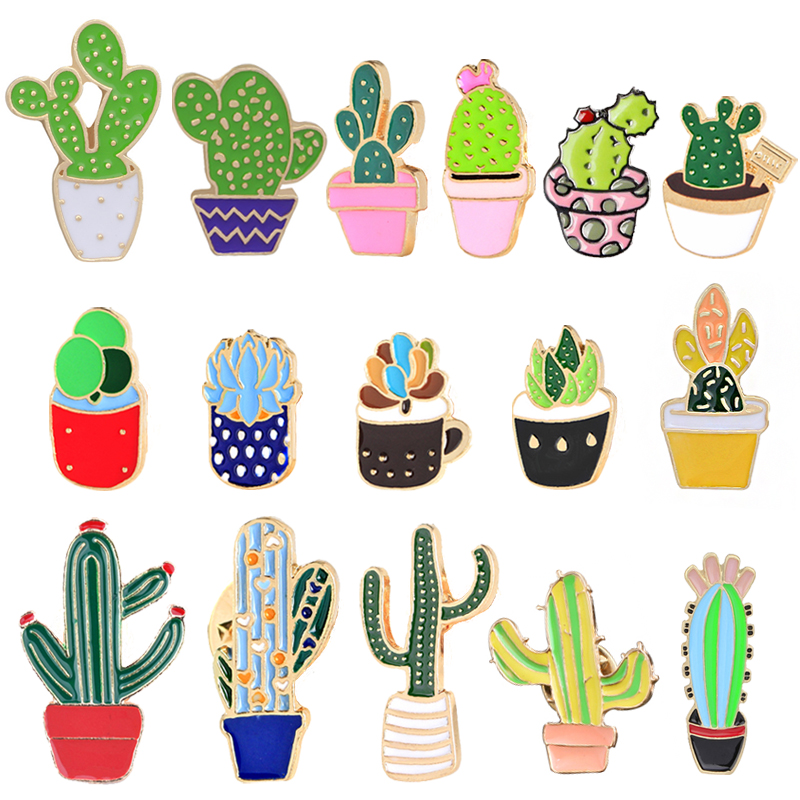 92e1d1217d9 Potted Plant Cactus Enamel Pins Metal Lovely Badges Brooch Vintage Brooches  For Women Jewelry Clothing Collar